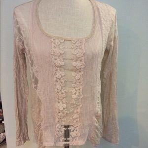 JOLT cream floral lace mesh boho long sleeve top